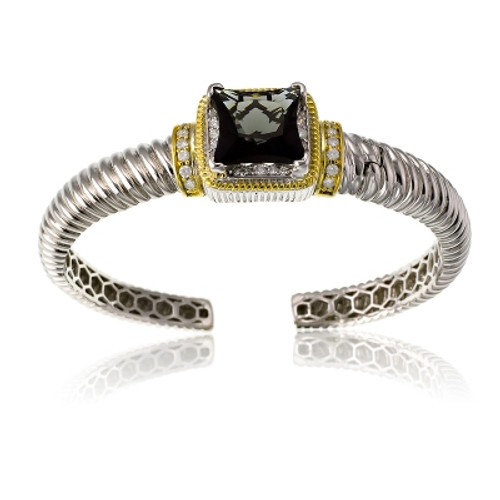Sterling Silver Gold Plated & CZ Center with Large Square Smoky Topaz CZ Bangle