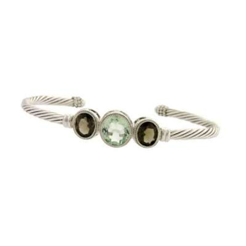 Sterling Silver Cable Bangle with Center Smokey Topaz CZ & Green CZ Circles