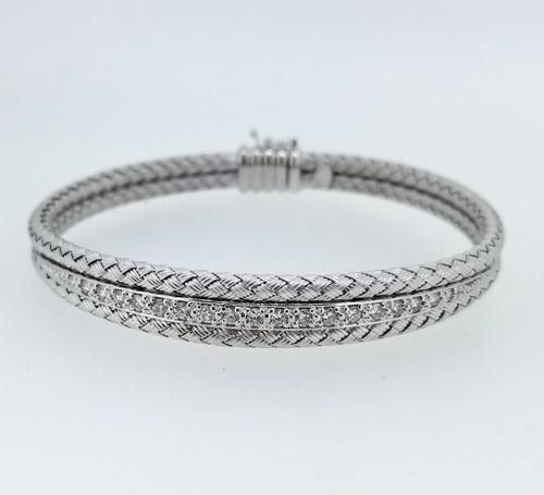14KT White Gold & Round Cut Diamond Braided Bangle 0.85 ctw