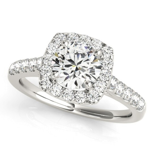 Diamond Halo Engagement Ring for a Round Stone in 14KT White Gold 50576-E-1
