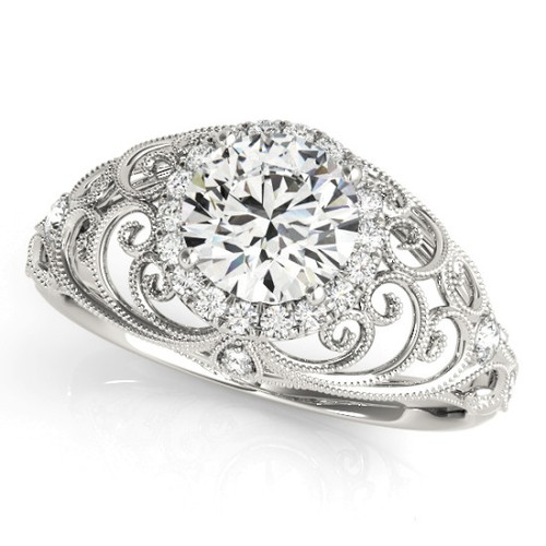 Diamond Halo Engagement Ring for a Round Stone in 14KT White Gold 84680
