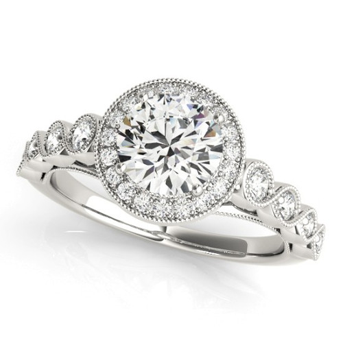 Diamond Halo Engagement Ring for a Round Stone in 14KT White Gold 50878-E-1