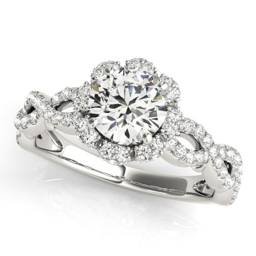 Diamond Halo Engagement Ring for a Round Stone in 14KT White Gold 50870-E
