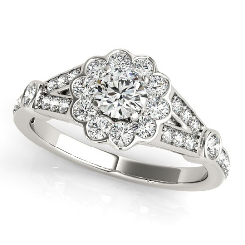 Diamond Halo Engagement Ring for a Round Stone in 14KT White Gold 50880-E