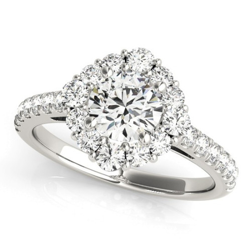 Diamond Halo Engagement Ring for a Round Stone in 14KT White Gold 84838