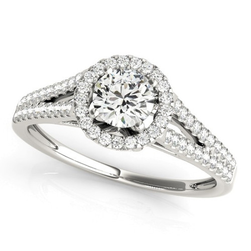 Diamond Halo Engagement Ring for a Round Stone in 14KT White Gold 50545-E-A
