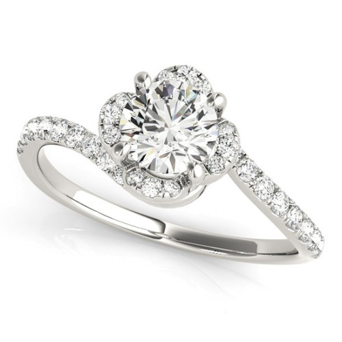 Diamond Halo Engagement Ring for a Round Stone in 14KT White Gold 51030-E