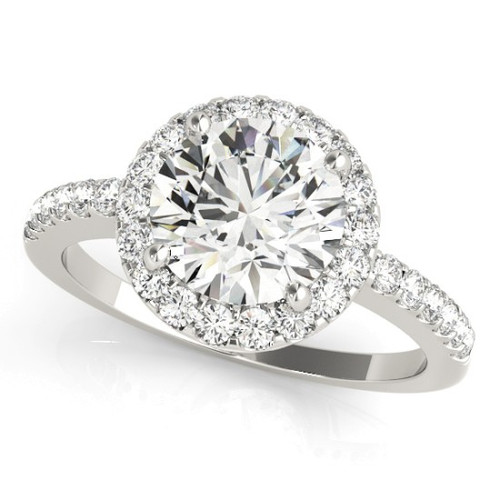Diamond Halo Engagement Ring for a Round Stone in 14KT White Gold 84062