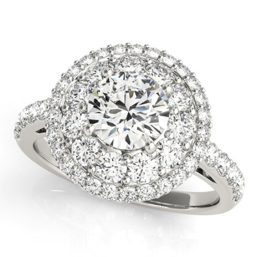 Diamond Halo Engagement Ring for a Round Stone in 14KT White Gold 50661-E-1