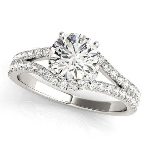 Diamond Halo Engagement Ring for a Round Stone in 14KT White Gold 50663-E-1