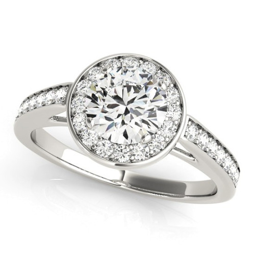 Diamond Halo Engagement Ring for a Round Stone in 14KT White Gold 84660-1