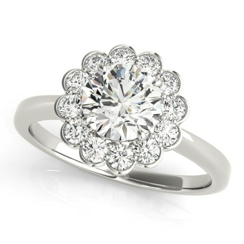 Diamond Halo Engagement Ring for a Round Stone in 14KT White Gold 50833-E