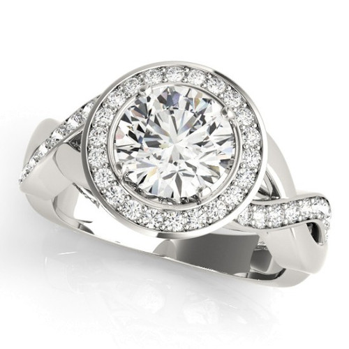 Diamond Halo Engagement Ring for a Round Stone in 14KT White Gold 50940-E