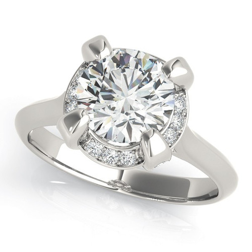 Diamond Halo Engagement Ring for a Round Stone in 14KT White Gold 84884