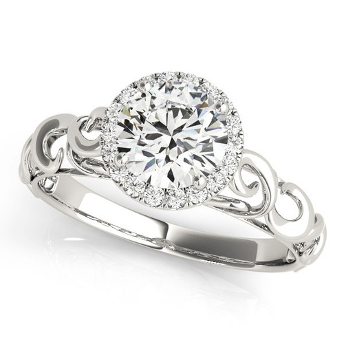 Diamond Halo Engagement Ring for a Round Stone in 14KT White Gold 84737-1