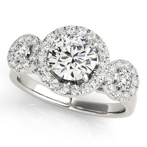 Diamond Halo Engagement Ring for a Round Stone in 14KT White Gold 84336-B