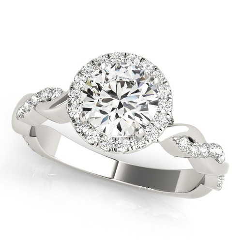 Diamond Halo Engagement Ring for a Round Stone in 14KT White Gold 51081-E-1