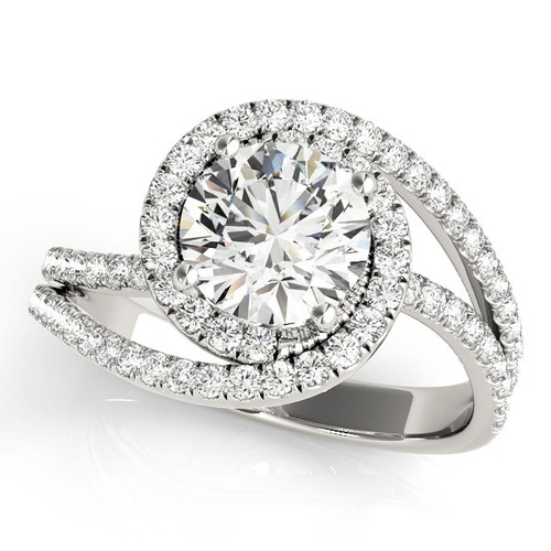 Diamond Halo Engagement Ring for a Round Stone in 14KT White Gold 51068-E