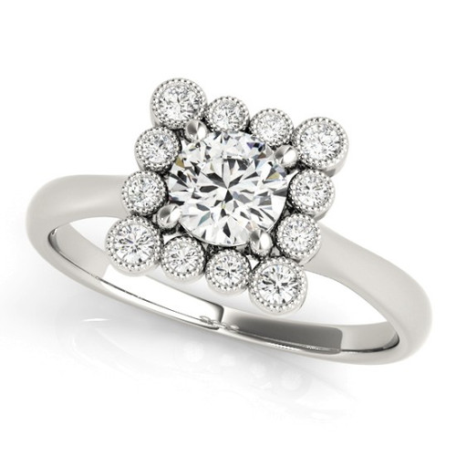 Diamond Halo Engagement Ring for a Round Stone in 14KT White Gold 51034-E-1