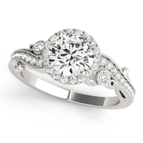 Diamond Halo Engagement Ring for a Round Stone in 14KT White Gold 51000-E-1