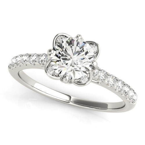 Diamond Halo Engagement Ring for a Round Stone in 14KT White Gold 50957-E