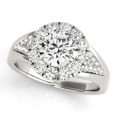 Diamond Halo Engagement Ring for a Round Stone in 14KT White Gold 50955-E-1