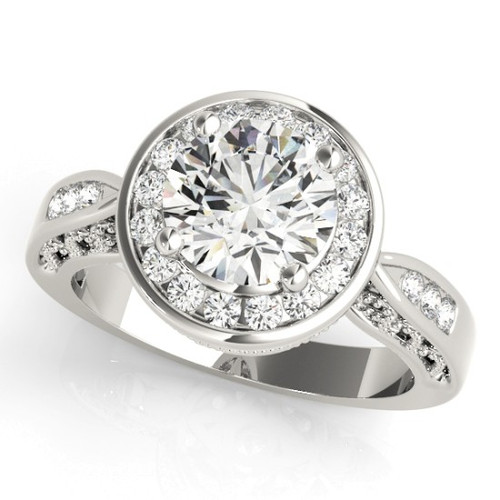 Diamond Halo Engagement Ring for a Round Stone in 14KT White Gold 50338-E