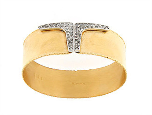 Italian Silver & Cubic Zirconia Wide Cuff Bangle Yellow Gold Plated S044.0263M