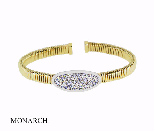 Italian Silver & Cubic Zirconia Wide Cuff Bangle  Gold Plated FS2881196