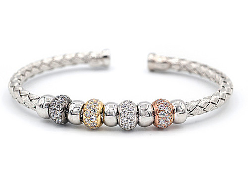Italian Silver & Cubic Zirconia Wide Cuff Bangle  Gold Plated AGCABLECZ