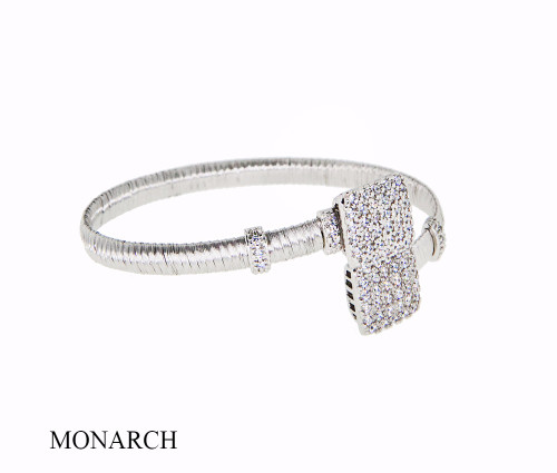 Italian Silver & Cubic Zirconia Wide Cuff Bangle  Gold Plated BRGG0212