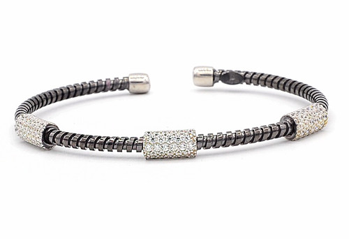 Italian Silver & Cubic Zirconia Wide Cuff Bangle  Gold Plated AG3CABLE