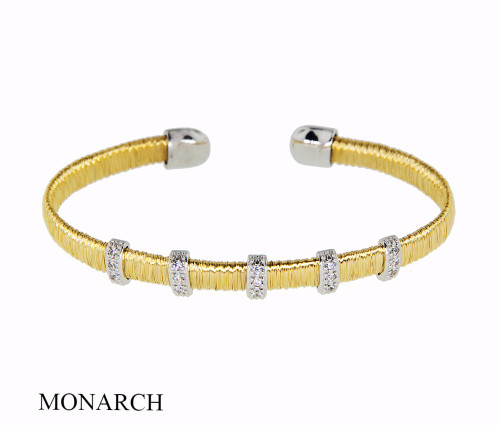 Italian Silver & Cubic Zirconia Wide Cuff Bangle  Gold Plated FS346791
