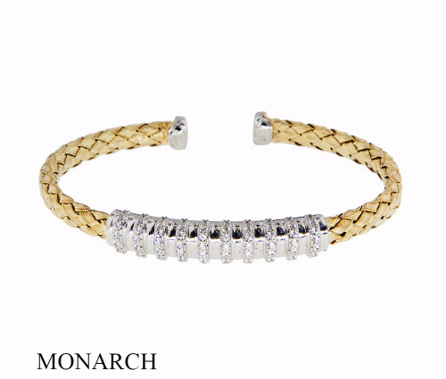 Italian Silver & Cubic Zirconia Wide Cuff Bangle  Gold Plated FS2881089