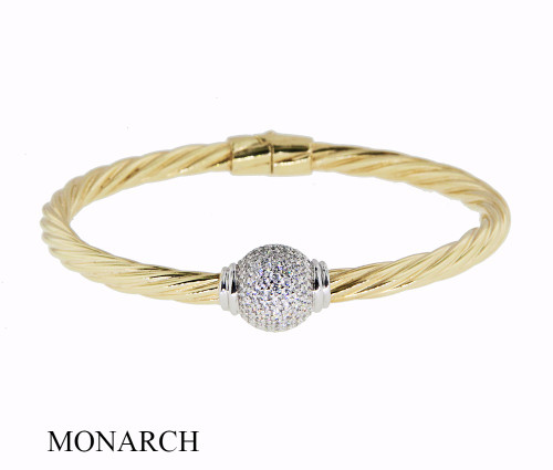 Italian Silver & Cubic Zirconia Wide Cuff Bangle  Gold Plated GATB46