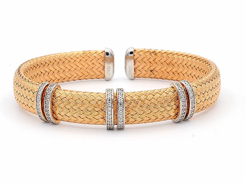 Italian Silver & Cubic Zirconia Wide Cuff Bangle  Gold Plated TR5225R