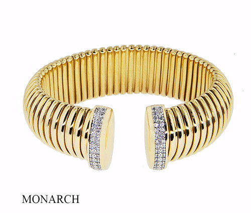Italian Silver & Cubic Zirconia Wide Cuff Bangle  Gold Plated BRAG196