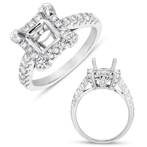White Gold Halo Ring  in 14K White Gold   EN7497-1SQWG