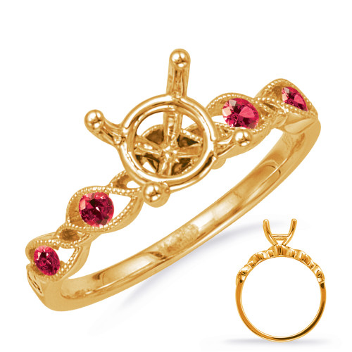 Diamond Engagement Ring with Rubies  in 14K Yellow Gold    EN8140-1RYG