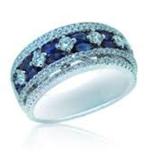 18 KT White Gold Round Cut Diamond & Blue Round Sapphire Ring