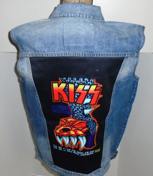 WOLFGANG'S DESIGNS BY DRAGONFLY DENIM VEST KISS MENS LARGE