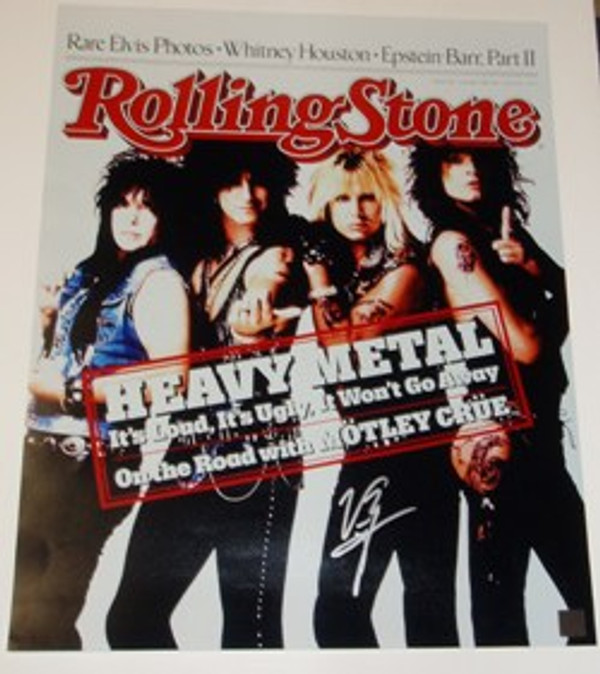 MOTLEY CRUE Band Picture autographed by VINCE NEIL 16 x 20 Rolling Stones Cover