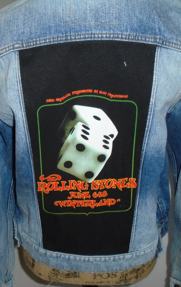WOLFGANG'S DESIGNS BY DRAGONFLY DENIM JACKET ROLLING STONES WOMENS