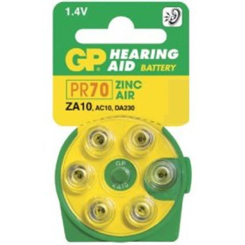 Pack of 6 Zinc Air 10 Hearing Aid Batteries
