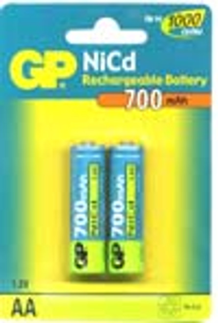 Pack of 2 AA Cell Ni-Cad 1.2V 600mAh Rechargeable Battery