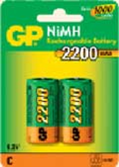 Pack of 2 C Cell NiMH 1.2V 2200mAh Rechargeable Battery
