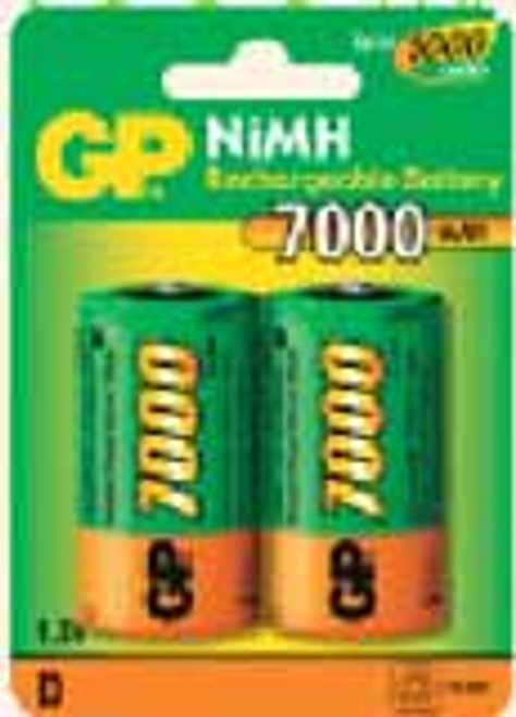 Pack of 2 D Cell 1.2V NiMH 7000mAh Rechargeable Battery