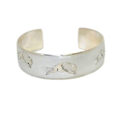 "Native American Made ""Tatanka"" Sterling Silver Bracelet"
