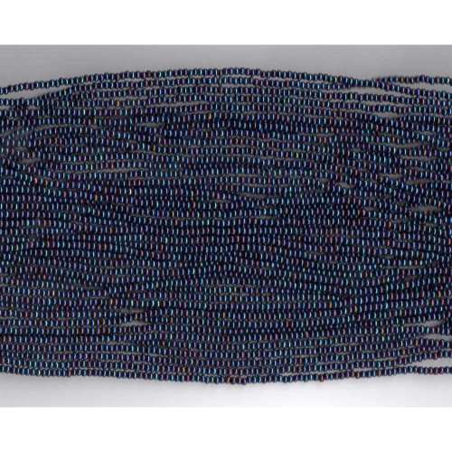 Czech Blue Iris Metallic Glass Bead: 13/0 Cut