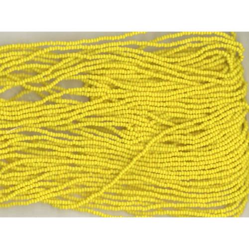 Czech Bright Yellow Opaque Glass Bead: 11/0